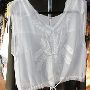 NWOT Free People Tie Waist Blouse sz large